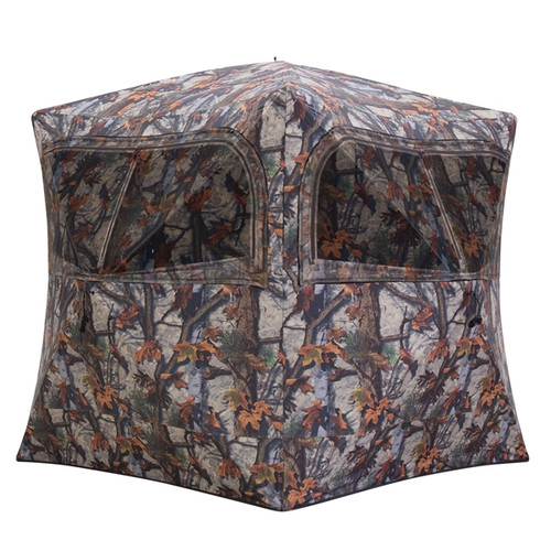 """The Grounder 350™, Barronett Blinds™ best seller, has plenty of room for small group hunts. When you find the perfect spot, simply pop open and you're ready to hunt. The large, zippered windows cover three sides of the Grounder 350™, offering excellent viewing and can be opened or closed in multiple arrangements to suit any hunters needs. The window mesh is shoot-through and can easily be replaced when needed.  HUGE INTERIOR 80 inches tall and 90 inches wide hub-to-hub, with a 70 inch by 70 inch footprint. SHOOT-THROUGH MESH Replaceable mesh camo window panels attach with hook-and-loop strips and can be opened with zippers. LIGHTWEIGHT DESIGN Made with durable, water-resistant, tightly-woven 150D fabric with a black interior coating. Three large zippered shooting windows. Rear peak window for additional viewing. Includes carry bag, ground stakes and tie down ropes. Bloodtrail® Woodland Camo.  MODEL #GR351BT Fabric150 Denier Oxford Weave Polyester SHOOTING WIDTH90"""" x 90"""" FOOTPRINT70"""" x 70"""" HEIGHT80"""" WEIGHT18 lb. DOOR STYLEVertical Corner CAMOUFLAGEBloodtrail® Woodland™"""