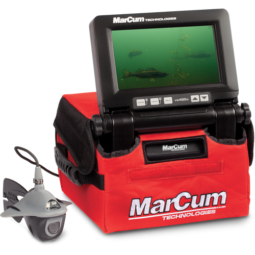 The MarCum® VS485C underwater viewing system proves that top-of-the-line performance doesn't have to come with a top-shelf price tag. With a 7-inch, high-resolution flat-panel LCD screen with 800 x 480 pixel resolution, and an industry-best CMOS Camera, the VS485C system provides an underwater viewing performance that, dollar for dollar, is unmatched by any other ice-fishing camera system available today. Fishing in clear water under bluebird skies? Use the VS485C in full-color mode to see the underwater world the way nature intended. Fishing in stained water or in low-light conditions? Color Kill Technology allows you to switch over to black-and-white mode for an amazingly crisp and clear image.     Features/Specs  Display: 7- Inch High Resolution H2D Solar Intelligent LCD Screen with 800x480 pixels.  Camera: CMOS Camera with a .01 lux rating provides enhanced optics,  built in LED light with a 50-foot cable.  Color Kill: Allows you to switch over to Black and White mode. This feature is also automatic in low light conditions to provide a clearer and crisper picture.  Video Output: RCA video out jack     Comes With  BATTERY: Rechargeable 12-Volt 7-amp SLA Battery CHARGER: 3-Stage Automatic Charger STORAGE: Deluxe Padded Red Soft Pack WARRANTY: One Year System Warranty     Weight and Dimensions  WEIGHT: 13 Pounds  HEIGHT: 7.5 Inches  WIDTH: 10 Inches  DEPTH: 10 Inches        Compatible Products  CP1 Camera Panner 857224002279  CP2 Wireless Camera Panner 857224002651  CP2FOB Wireless Camera Panner fob 857224002668  LION1275 12v7.5amp Lithium Ion Battery Only 850013782062  LP41210Kit 12v10amp LiFePO4 Battery and 3amp Charger 857224002941  LP41218 Kit 12v18amp LiFePO4 Battery and 6amp Charger 850013782079  LP41230 Kit 12v30amp LiFePO4 Battery and 6amp Charger 850013782086