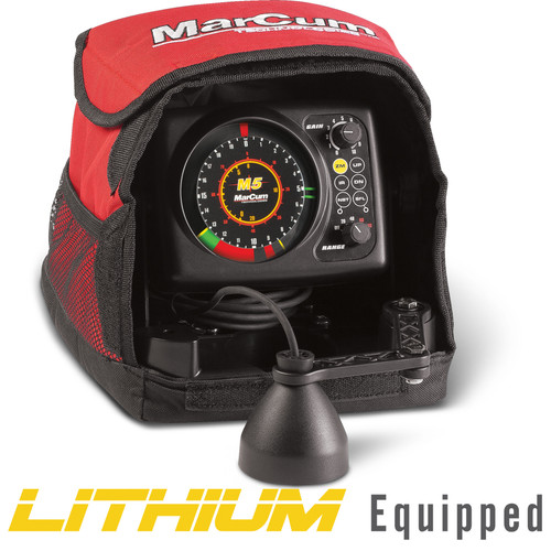"""The difference between a good angler and a great one is their attention to detail. The M5L provides that element in a 3-color, real-time flasher that's as scientifically advanced today as it was when released nearly two decades ago. Feature specs are useless unless they help you catch fish, which is why the M5L's strength of signal with target separation down to 3/4"""" is more than just a bullet point on a product box. That kind of sonar clarity allows you to differentiate fish from the bottom, or schooling fish from each other, to specifically target the largest fish in the group and catch them. With our dual-beam transducer, at the push of a button, an angler can quickly narrow the sonar cone angle and focus on fish within any striking distance of the bait. SuperFineLine (SFL) is another Marcum-exclusive, and it's like having a High Definition mode for your flasher, all while improving standard definition from 1-1/2"""" to 3/4"""" for the entire water column. Max Brightness and Clarity (MBC) lighting ensures that sonar targets are as bright as they are sharp, digitally transposed on a super-smooth and quiet brushless platform that's provided years of maintenance-free service. The M5L's patented zoom technology is moveable anywhere in the water column, giving you the freedom and precision not only for bottom hugging species, but an exclusive advantage only MarCums can boast as it relates to suspended fish. This is true in shallow water ponds, as well as the deepest and clearest lakes down to 160 feet. Our industry-leading 12-step interference rejection system is so advanced, it's also patented. That makes it compatible with any 2,000khz frequency sonar, along with other frequencies as well. The M5L's sonar system pumps out 2,500 watts of expertly managed power, and is now fueled by a lightweight, long-lasting LifePO4 lithium battery. This shaves a significant amount of the weight from the entire system, ensuring both angler AND flasher never run out of juice. Lithium techn"""