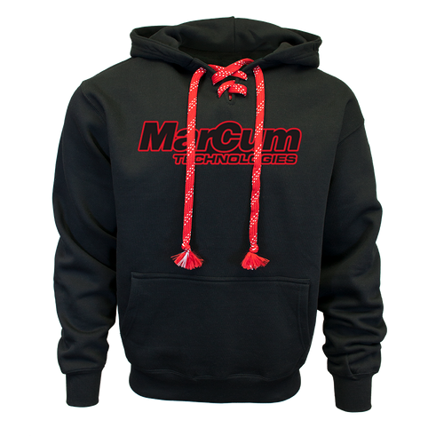 The MarCum Hockey Hoodie is a garment that serves the sport and looks great doing it. For all but a couple days per year, most of the ice season requires good bibs and a stout hoodie that takes the edge off without overheating you the way a jacket would. This is a thick, heavyweight, quality hoodie that's meant to stand up to a stiff wind and is black to absorb sunlight along the way. It's also tailored for flexibility, giving anglers a wide range of motion to drill holes, set tip-ups, and move around the fish-house too. Finally, a fishing hoodie that wears as warm as it looks.  Features:  · Laced hoodie  · 12 oz. heavyweight reverse weave  · Kangaroo Pocket  · Rib knit cuffs and waistband  · Split laced placket  · Cotton red/white laces  Weight and Dimensions  WEIGHT: 12 oz.  SIZES: Adult Sizes | S – 3XL  MATERIAL – 55% Cotton / 45% Polyeter fleece – low shrink  COLOR – Black, with red/white laces  MSRP - $69.99