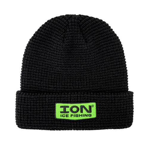 ION® Waffle Knit Hat  $19.99 USD  3837801101  This mid-weight ION knit hat features two layers of knit and a fleece lining to keep you warm and comfortable on the ice or in the elements. Features an ION logo embroidery and green style accents.  NEW ION® Waffle Knit Hat  $19.99 USD  3837801101  This mid-weight ION knit hat features two layers of knit and a fleece lining to keep you warm and comfortable on the ice or in the elements. Features an ION logo embroidery and green style accents.        FEATURES TWO LAYERS OF KNIT FOR WARMTH  FOLDED CUFF FOR EXTRA EAR PROTECTION PRODUCT SPECS FABRICAcrylic Knit  WARRANTY1-Year Limited