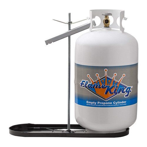 30lb LP Mounting Parts  Model #: KT30MNT Securely holds two 30 pound propane tanks Fast and easy to use Built from a durable powder coated steel Tanks, regulator and pigtails not included Product Specifications  Weight: 9 lb  Dimensions: 24 x 9 x 24 inches  Rod size: 23.5 inches  Case quantity: 6 pieces