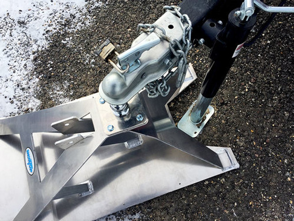 """The Snow Tow ski is the accessory of choice for avid ice fishermen. It easily hooks up to your ice shack, taking the tongue weight off your towing vehicle. This makes towing larger trailers over ice and snow a cinch with your ATV, side by side or pickup, providing convenient and safe mobility around the lake.  Snow Tow Model 2267 tow ski hooked up to a 8'x16' Ice Castle fish house.  Model 2267 tow ski on Lake Kampeska in mid-February. 5 degrees with sunny skies and a fresh snowfall. In this video we're pulling a 8'x16' Ice Castle.  Made in USA U.S. Patent No. 9315081, 9434223  PRODUCT FEATURES  Heavy duty 1/4"""" aluminum construction  2"""" coupler and 2"""" chrome ball included  Over 7 feet of welding for superior toughness  Quick release tow bar with hitch pin  Plastic (UHMWPE) runners on bottom  Can accommodate 2-5/16"""" ball for larger trailers  MSRP: $649 PRODUCT SPECIFICATIONS  Size: 20"""" wide X 41"""" long, 16-3/4"""" to top of ball  Weight: 45 lbs (with tow bar)  Ball size: 2"""" (any ball with a 1"""" shank will fit)  Coupler: Fits 2"""" ball  Tow Bar: 45"""" long, extends 28"""" past front lip of ski. Tube has 1/4"""" wall.  Front lip: 7"""" rise  The tow ski from Snow Tow is designed to make life with your fish house easier. We use top quality, industrial grade materials and the latest in metal fabrication techniques to bring you the best quality and usability in the product segment.  Rugged build quality and exclusive design features allow you to explore the lake for that next hot spot. Keeping you mobile and catching more fish.  UNIQUE FEATURES OF MODEL 2267  Model 2267 has a modified rear fork providing more clearance for the coupler and frame on your trailer. In addition, there is a deeper cut outon the back side of the ski plate which allows for quicker attachment to ice shacks with a tongue jack that is very near the trailer coupler. If you have questions regarding the compatibility of this ski with your ice house, please call adealerin your area or contact our sales team.  View fullsiz"""