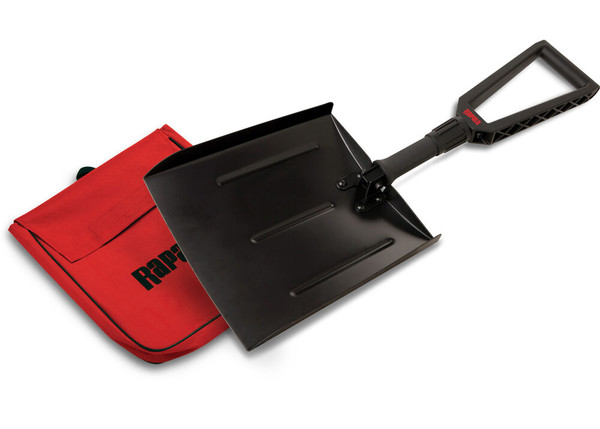"""Never get caught in a snowy situation again. Be prepared with this lightweight, folding pack shovel. Perfect for banking your fish house and digging out of a bind. Super light, but extra tough. Fits into a 13"""" storage pouch (included) when folded.  Easy to pack and transport Unfolds to 26"""" Durable travel/storage bag 13"""" storage pouch"""