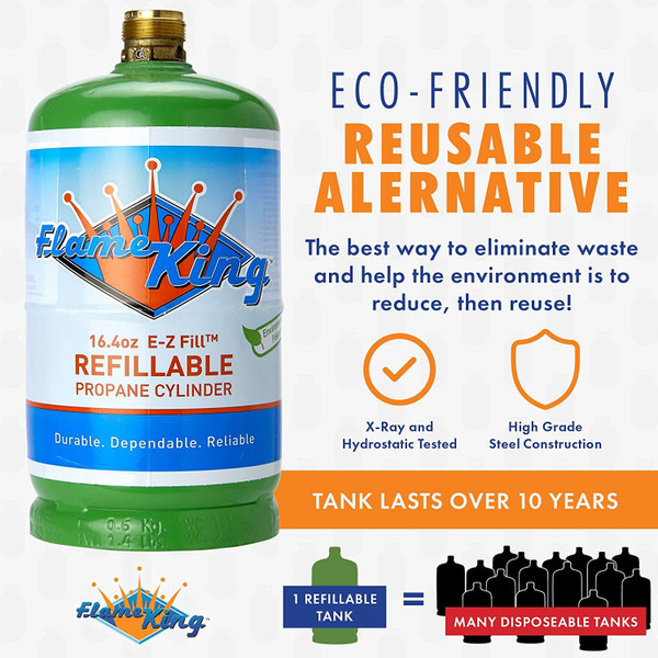 Flame King Refillable 1 lb Empty Propane Cylinder Tank - Reusable - Safe and Legal Refill Option - DOT Compliant - 16.4 oz SAVE MONEY - Stop wasting money on disposable tanks and start saving money with our reusable, safely and easily refillable propane cylinders SAVE TIME - Refill from the comfort of your backyard in just FOUR easy steps! Compatible with any appliance that uses a 1 Lb propane tank! REDUCE WASTE - Keep disposable propane tanks out of the environment by using Flame King 1 Lb refillable cylinders SAFE TO USE - Flame King refillable propane tanks are the only 1lb tanks Certified by the DOT as legally and lawfully refillable and transportable. It is not safe or legal to refill and transport disposable 1lb tanks PLEASE NOTE - These cylinders fill fastest & safest with our commercial Flame King refill adapter - not included but available with our refill kit!