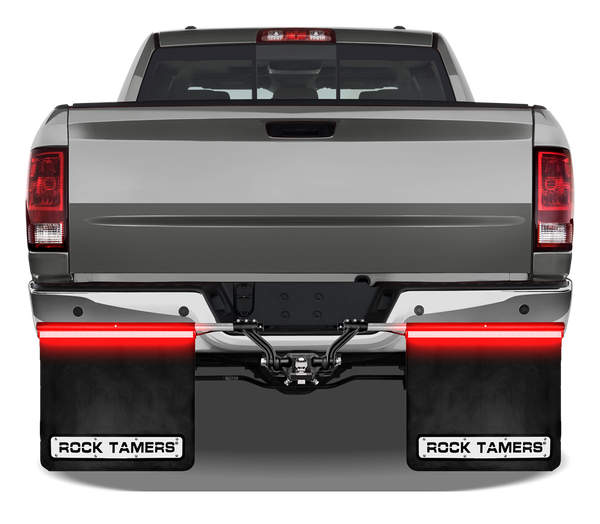 """DESCRIPTION Need extra visibility when you tow? You got it with the new Rock Tamers RT240 Light Bars! Super bright running, turn and stop lights help keep you seen whenever your lights are on. Works in conjunction with your existing lights.  An add-on mudflap accessory that gives your towing vehicle an additional set of tail, stop and turn signal lights The perfect solution for consumers who want to make sure their vehicle is seen while towing Rock Tamers Tail Light Bars give you 2 strips of brilliant LED light Each bar measures 24 inches by 1 inch wide and have 24 LEDs Simple design works with existing Rock Tamers Mudflaps hardware and can be used on other mudflap systems as well (see back of package for specific details) Extruded """"C"""" channel aluminum housing slides over the heads of the flap clamp bolts and tightly secures in place Easy to connect 4 wire flat trailer connector plugs into standard trailer connections The specially designed plug is angled so both the 4 wire flat and 7 blade can be plugged in and used at the same time The light bar wiring harness has 2 coiled leads each with water-tight end plugs for secure and trouble free connections Use the included cable ties to keep the harness neatly mounted Comes complete with black powder coated left and right tail light bars, coiled wiring harness with 4 wire flat connectors and 12 stainless cable ties (4.6mm x 150mm) Complete installation instruction and pictures included Downloads: ROCK TAMERS RT240 LED LIGHT BAR INSTRUCTIONS"""