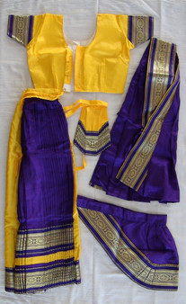 Bharatanatyam dance costume Skirt style Readymade Yellow and Purple