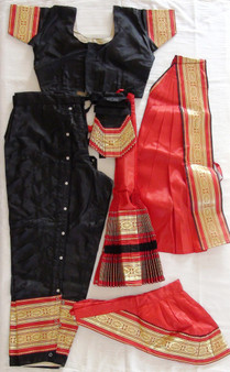 Bharatanatyam dance costume Pant style Readymade Black and Red