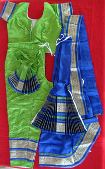 Bharatanatyam dance costume Pant style Readymade Green and Blue