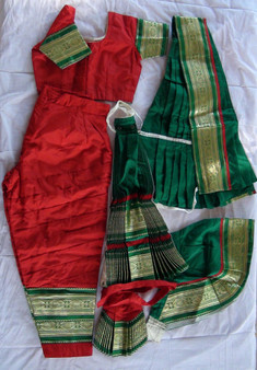 Bharatanatyam dance costume Pant style Readymade Red and Green