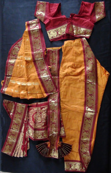 Kuchipudi dance costume Readymade  Mustard and Maroon
