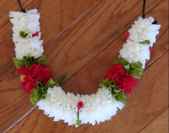 Cloth Flower Super soft White with Red Roses