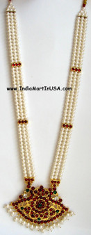 Long chain with artificial pearls.