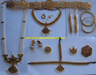 Traditional Bharatanatyam Temple Jewelry Set CD74