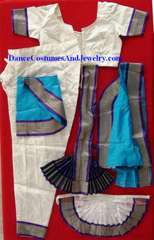 Bharatanatyam dance dress Pant style Readymade White and Blue