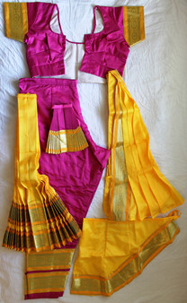 Bharatanatyam dance costume Pant style Readymade Pink and Yellow
