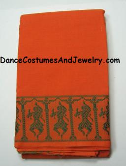 Dance Practice Saree Orange with Dancing Lady Border