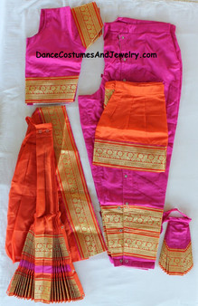 Bharatanatyam dance costume Pant style Readymade Pink and Orange