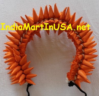 Hair Flower for Bharatanatyam and kuchipudi dance Orange round