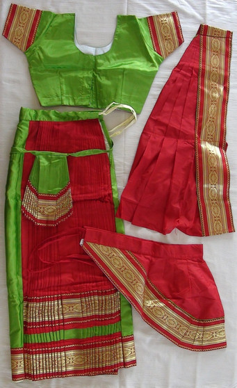 Bharathanatyam dance costume Skirt style Readymade Green and Red
