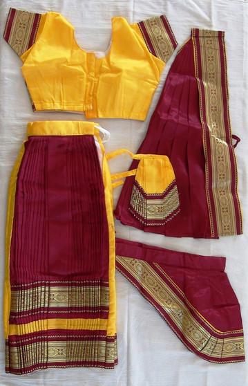 Bharatanatyam dance Dress Skirt style Readymade Yellow and Maroon