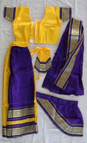 Bharatanatyam dance costume Skirt style Readymade Yellow and Purple