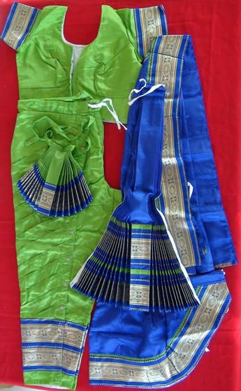 Bharatanatyam dance costume Pant style Readymade Green and Blue