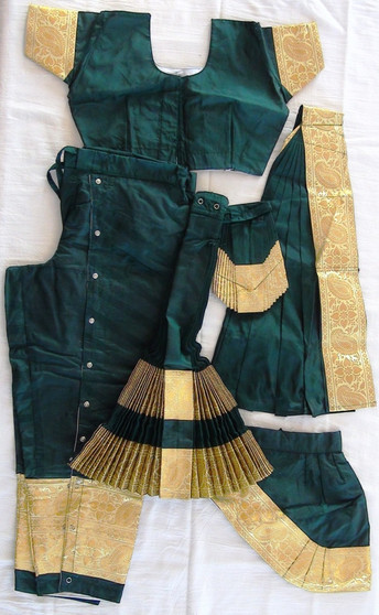 Bharatanatyam dance costume Pant style Readymade Green and Golden