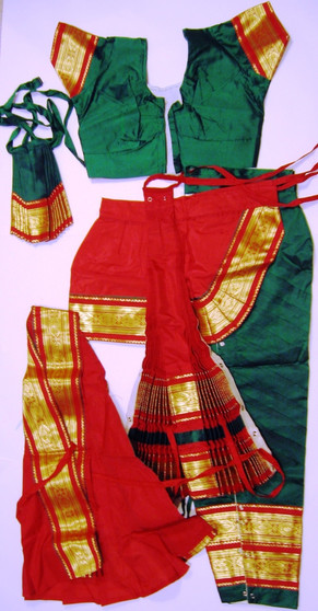 Bharatanatyam dance costume Pant style Readymade Green and Red