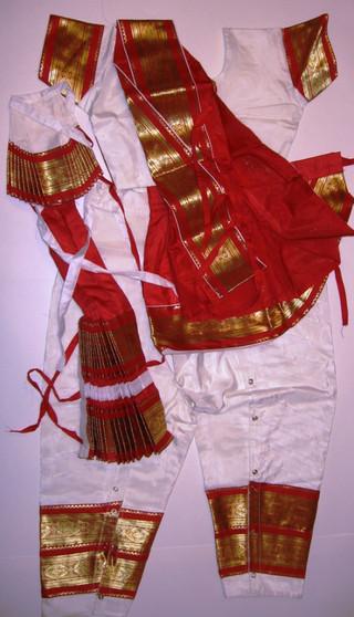 Bharatanatyam dance costume Pant style Readymade White and Red