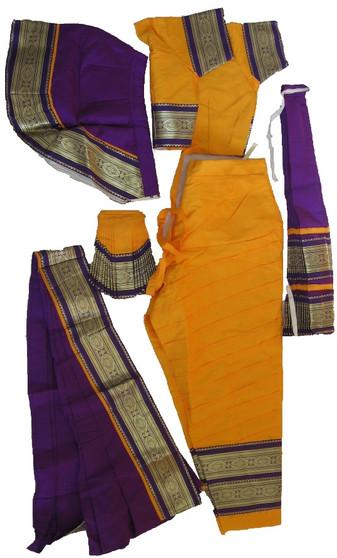 Bharatanatyam dance costume Pant style Readymade Yellow and Purple