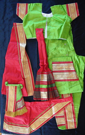 Kuchipudi dance costume Readymade Green and red