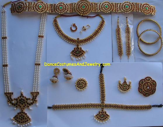 Traditional Bharatanatyam Temple Jewelry Set CD74