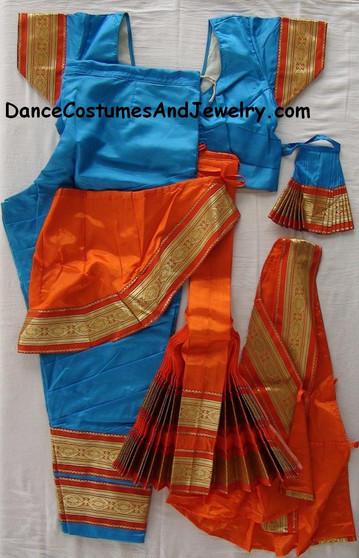 Bharatanatyam dance dress Pant style Readymade Blue and orrange