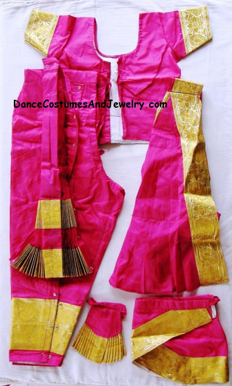 Bharatanatyam costume Pant style Readymade Pink and Gold