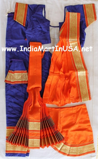 Bharatanatyam dance costume Pant style ReadyMade Blue and Orange