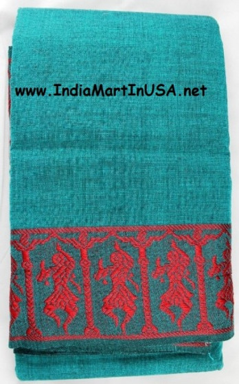 Dance Practice Saree Green with Dancing Lady Border