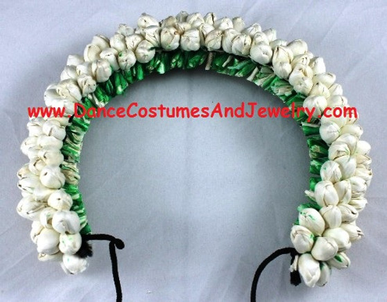 Hair Flower for Bharatanatyam dance White round