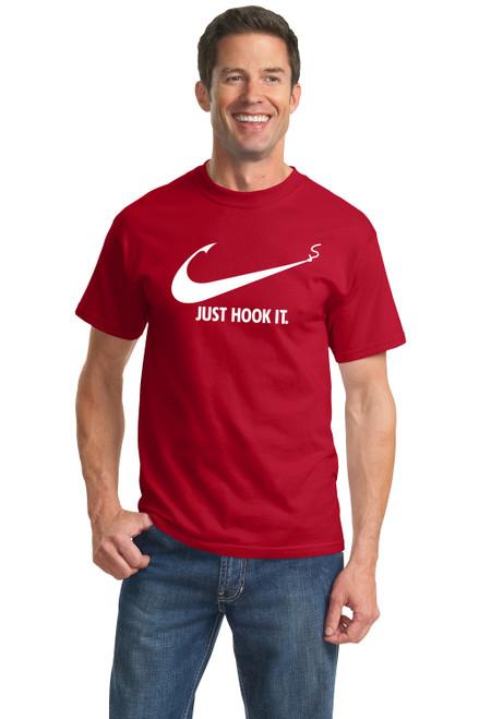 Nike Slogan t-shirt,Just Hook It ADULT funny T-shirt,Meme Swoosh Sports Men/'s