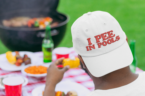 I PEE IN POOLS funny  gag gift joke - Hat Cap Novelty Embroidered