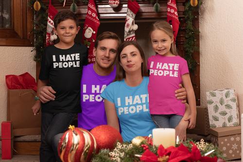 I Hate People Funny T Shirt Antisocial Adult Humor Cute Holiday Gift Tee