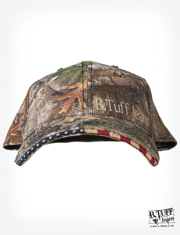 Realtree® print cap with U.S. Flag sandwich bill and small B. Tuff® logo