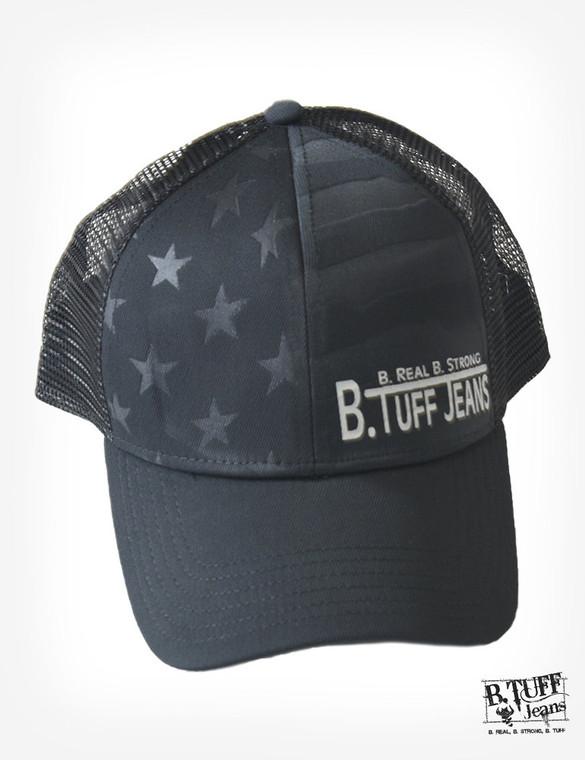 Black US flag embossed trucker cap with B. Tuff® logo on bill