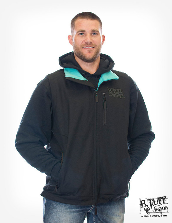 Men's black canvas vest with turquoise lining and B.Tuff embroidery