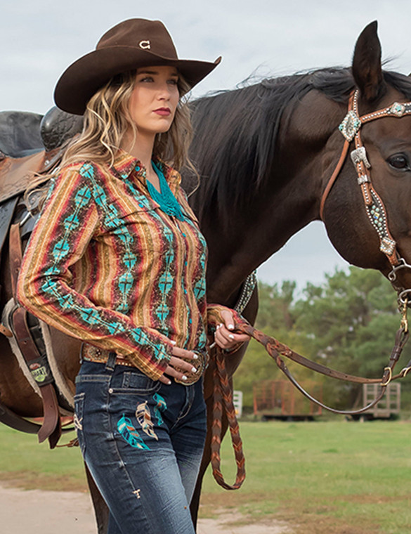 Pullover Button-Up (coral and turquoise aztec print)
