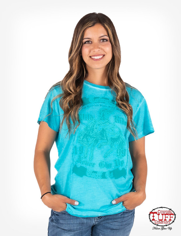 Turquoise v-neck short sleeve overdyed tee w/ CTC Never Give Up® buckin' bronco graphic