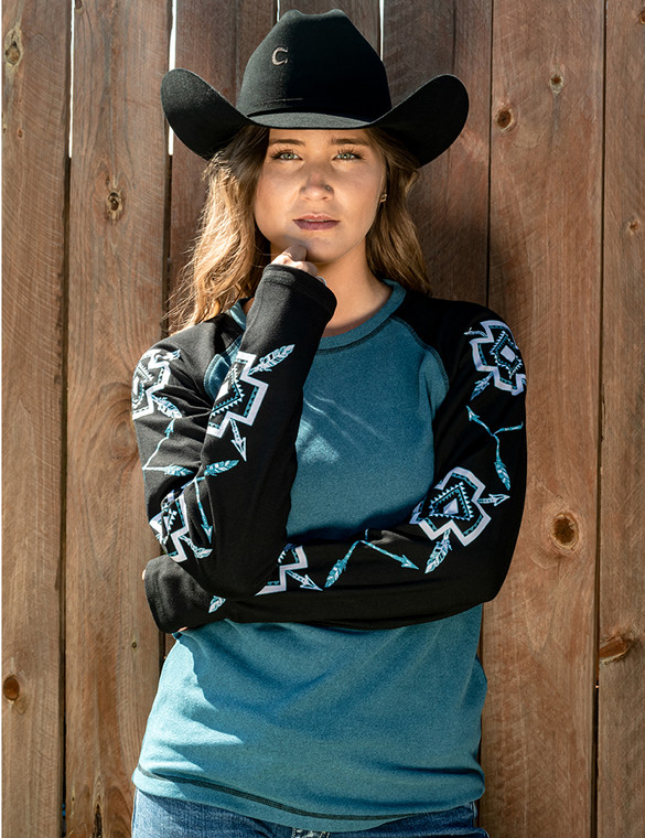 Long Sleeve Baseball Tee with Contrasting Mosaic Graphic Print (Turquoise/White)