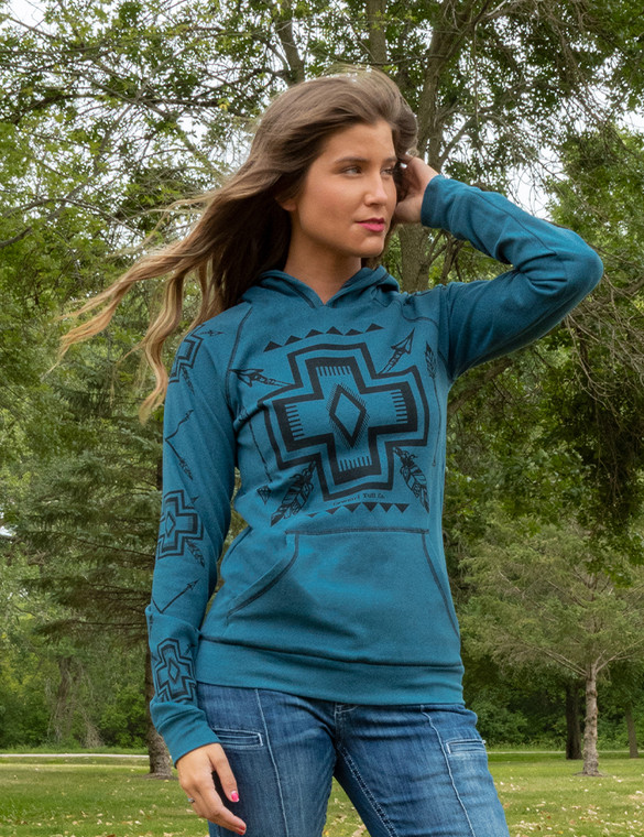 Arrows and Feathers Geometric Print  Hooded Sweatshirt (Turquoise)