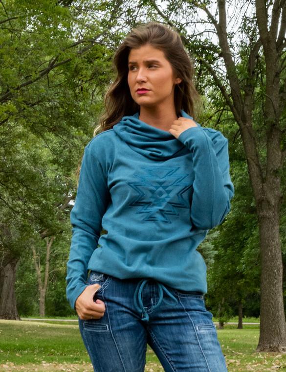 Cowl-Neck Fleece Sweatshirt with Southwestern Geometric Print (Turquoise)