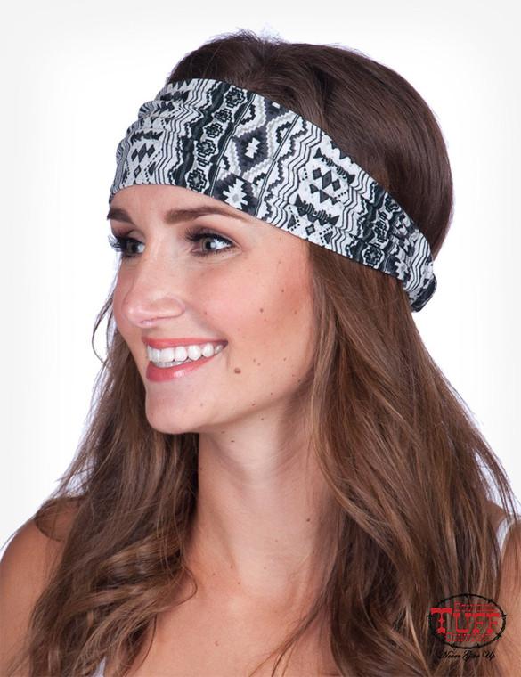 Black and white Aztec printed jersey headband